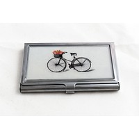 Bicycle with Flowers Business Card Case in Silver