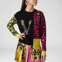 Versace Women Fashion Letter Pullover Sweater
