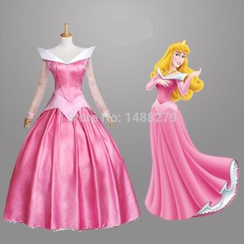 New Sleeping Beauty Princess Aurora Cosplay Costume Gorgeous Pink Fancy Dress Halloween Costumes For Women Custom Any Size