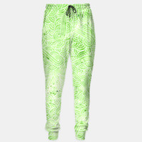 Greenery and white swirls doodles Sweatpants, Live Heroes