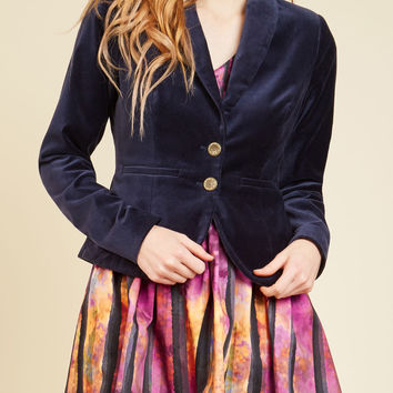 Velvet Executive Blazer in Navy | Mod Retro Vintage Jackets | ModCloth.com