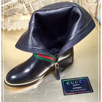 Gucci Women Black Leather Side Zip Lace-up long Boots Shoes Best Quality