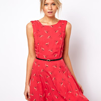 Oasis | Oasis Exclusive Flamingo Print Skater Dress at ASOS