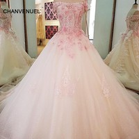 LS69423 pink lace wedding dresses ball gown lace up back off the shoulder wedding gown 2018 bruidsjurken real photos