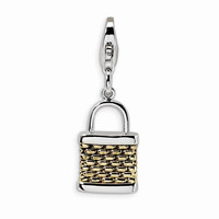 Sterling Silver Gold-plated 3-D Fishing Basket w/Lobster Claw Clasp Charm