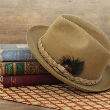 Stetson Tan Fedora with Feather Pin, The Imperial Stetson Ultimate Finish