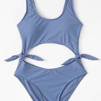 Knot side Cut Out Swimsuit