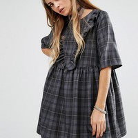 Reclaimed Vintage Oversized Smock Dress With Ruffle Front