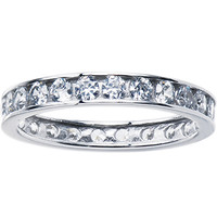 Solid 14K White Gold Cubic Zirconia Eternity Toe Ring - Size 2.5 | Body Candy Body Jewelry