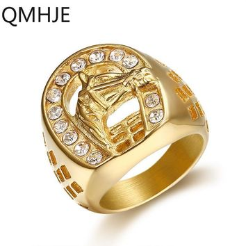 QMHJE Animal Horse Titanium Steel Gold Color Clear CZ  Men Ring Wedding Jewelry Punk Rock Male Biker Band Hip Hop Rings DAR234