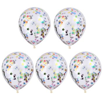 "DIY Colorful 5 PCS Confetti Balloon Birthday Wedding Party Latex Decorative Balloons 12"" for Hen Party Decoration Home Supplies"