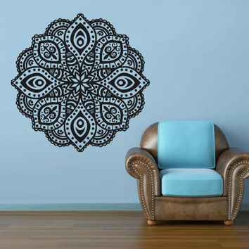 Wall Decal Vinyl  Mural Sticker Art Decor Bedroom Dorm Kitchen Ceiling Mandala Menhdi Flower Pattern Ornament Om Indian Hindu Buddha (z2835)