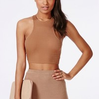 Missguided - Racer Back Ribbed Crop Top Camel