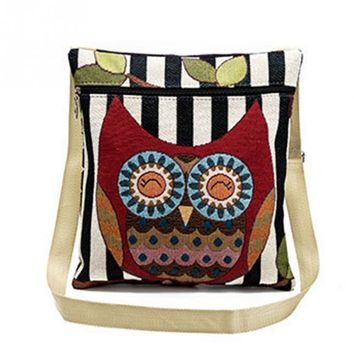 New Cute Owl Printed Canvas Crossbody Shoulder Bags Casual Girls Canvas handbag Lovely Owl Design Messenger Bag