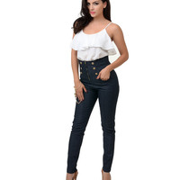 Retro Style Navy Denim High Waist Stretch Cigarette Pants