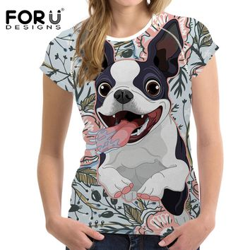 FORUDESIGNS Women T-Shirt Funny Boston Terrier Printed Tshirts Female Tops Tees Tumblr Cartoon Pug for Ladies Kawaii Clothing