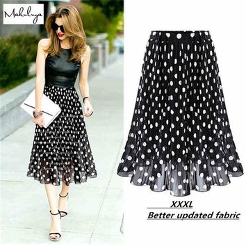 DCK9M2 2016 Summer Chiffon polka dot skirt female black dots in the long waisted pleated skirt beach A