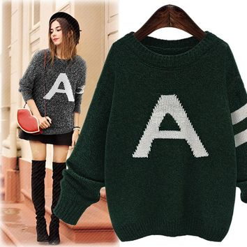 2016 Winter New Ladies Round Neck Letter A Pattern Knit Sweater Wild Loose Casual Hedging Knit Sweater AXD2059