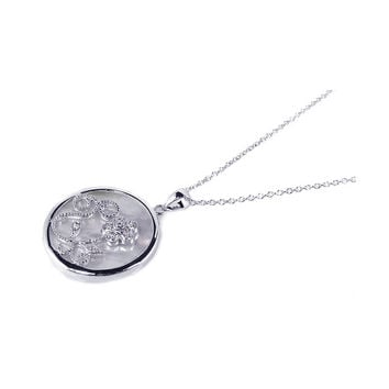 .925 Sterling Silver Clear Cubic Zirconia Mother Pearl Rhodium Plated Round Circle Pendant Necklace 18 Inches
