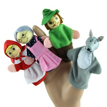 4PCS/Set Little Red Riding Hood Christmas Animal Finger Puppet toy Kid Educational Toys Storytelling Doll