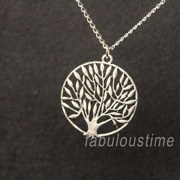 Wish tree necklace,retro silver round tree,alloy necklace---N116