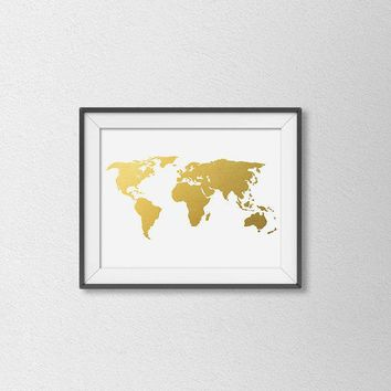 Faux Gold Foil World Map Print. Vintage Inspired Map. Chic Map. Modern Home Decor. Minimalist Wall Art. Office Art. Travel Art. Gold Map.