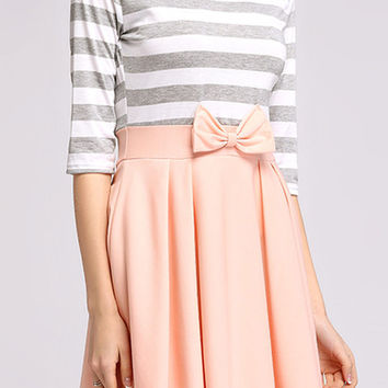 Pink Stripe Paneled Bowknot Pleated Mini Dress
