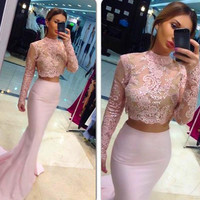 Beautiful Pink Long Sleeves Two Piece Prom Dresses 2017 Illusion Mermaid Prom Party Dress Formal Gown Vestido De Festa