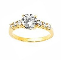 14K Yellow Gold Round Solitaire CZ With Side Stones Engagement Ring - Size 4 to 9