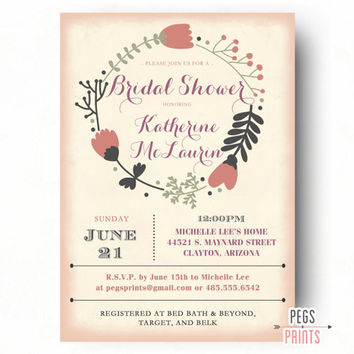 Printable Floral Bridal Shower Invitation - Floral Bridal Shower Invite - Shabby Chic Bridal Shower Invitations - Country Bridal Shower