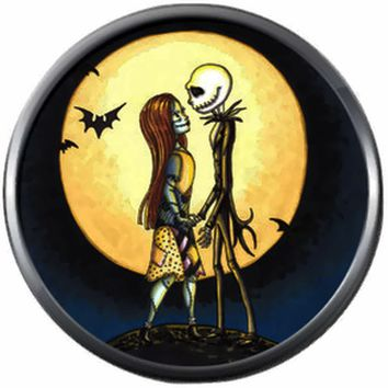 Bats Moon Jack And Sally In Love Halloween Town Nightmare Before Christmas Jack Skellington 18MM - 20MM Charm for Snap Jewelry New Item