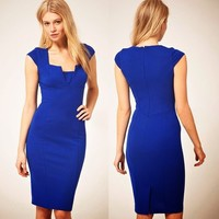Women's Cap Sleeve OL Style Knee Length Dress Sheath Fitted Solids Low Neck 1IC
