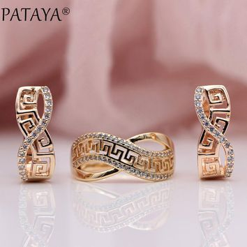 Exquisite Rose Gold Wedding Party Jewelry  Natural Zircon Dangle Earrings Rings Sets