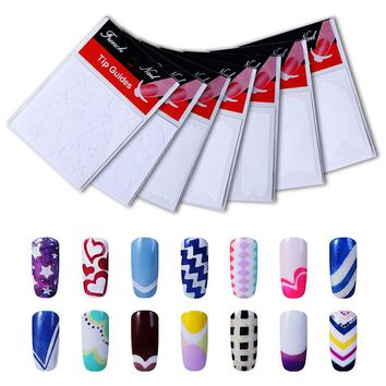 HNM 12 Packs Style French Tip Guides Finger Manicure Straight Wavy Line Star Shape Manicure Stencil Nail Art DIY Sticky