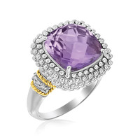 18K Yellow Gold & Sterling Silver Popcorn Ring with Amethyst and Diamond Accents: Size 8