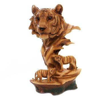 Animal TIGER SCENE WOODLIKE CARVING Polyresin Family Wildlife Mmh483