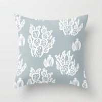 Cacti by the Sea Throw Pillow by margotlied