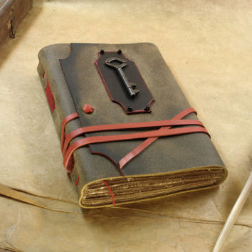 Evermore - Leather Journal in Black and Red with Antique Skeleton Key and Vintage Style Pages, Free Personalization, Custom Quote