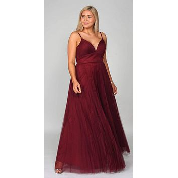 Plus Size Long A-Line Tulle Dress Burgundy Gathered Sweetheart Neckline Pleated Finish
