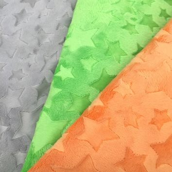 Free Shipping Minky  Star  Fabric 14 Colors In Stock Sold by Meter Used For baby blanket baby pillow also named embossed minky