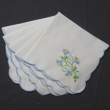 Set of 5 Vintage 1980s White Dinner Napkins Embroidered Blue, Yellow, & Green Flowers, 14 In. Square, Vintage Linens, Scallop Bound Edges