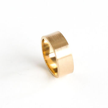 """Modern 14K yellow gold ring handmade of wide 8 mm recycled gold band in a rounded square shape, wedding ring for men - """"Gold Duality Ring"""""""