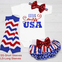 First 4th of July Outfit Girl 1st July 4th Bodysuit Fourth of July Baby Girl Shirt Glitter Patriotic Girl Red White Blue Bloomer Headband