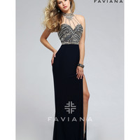 Faviana s7711 Navy Blue Sexy Embellished Halter Long Dress 2016 Prom Dresses