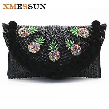 2017 High Quality Beach Bag Straw Day Clutch Messenger Bag Women Envelope Bag Lady Tassel Pineapple Summer Crossbody Bags C82