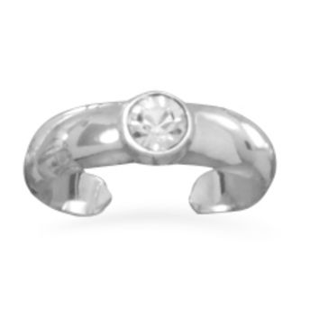 Crystal Sterling Silver Toe Ring