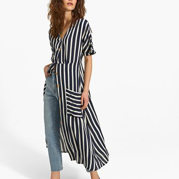 Striped shirt dress with buttons - Ny | Stradivarius Denmark