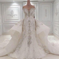 2017 Real Image Portrait Mermaid Wedding Dresses With Overskirts Lace Ruched Sparkle Rhinstone Bridal Gowns Dubai Custom Made