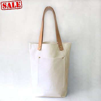 ON SALE-Creamy white Organic Linen Cotton Tote with Natural Leather Handle
