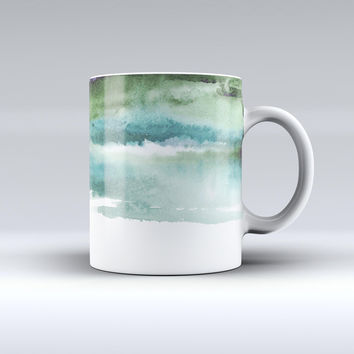 The Greenish Watercolor Strokes ink-Fuzed Ceramic Coffee Mug
